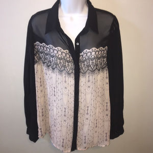 Black Pale Blush Sheer Lauren Conrad Blouse Med